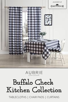 Add farmhouse flair to your kitchen with Aubrie Home's buffalo check kitchen textile collection. Find window curtains, tablecloths, and chair cushions to bring the look together. Available now at GreyDock.com! Chair Pads, Chair Cushions, Farmhouse Kitchen Inspiration, Kitchen Collection, Buffalo Check, Tablecloths, Window Curtains, Home Accents, Windows