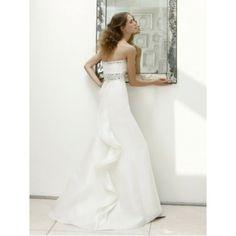 A-line Strapless Beading Brush Train Organza Wedding Dresses - 2013 Wedding Dresses - Wedding Dresses