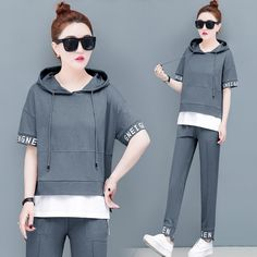 2 Piece Set Plus Size Tracksuits for Women Outfit Sportswear Co-ord Set Hooded Set and Wide Pants Suits 2019 Summer Clothing Stylish Work Outfits, Sporty Outfits, Summer Outfits, Summer Clothes Sale, Summer Clothing, Girls Fashion Clothes, Fashion Outfits, Pants For Women, Clothes For Women