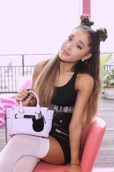 Ariana Grande wearing  Coach Multi Zip Leather Skirt, Coach Kiti Swagger 20, American Apparel Opaque Over-the-Knee Sock