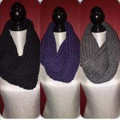 ⛈BNWT- H&M 3 for 30 set infinity scarf set! Brand new scarfs perfect for the cold! Colors are gray, blue and black. Material is 30% wool and 70% Acrylic. Price is firm! Each one retails at 15!  please comment below if you want this set and I will make you your own listing. DO NOT BUY THIS LISTING H&M Accessories Scarves & Wraps