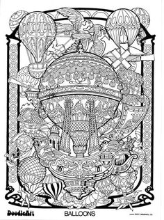 Doodle-Kunstgalerie Ausmalbilder | ... Bildergalerie für Heißluftballone super Rohr (Doodle Art Super Tubes 3241