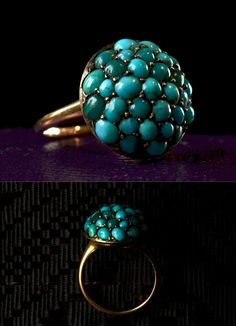 1890s Victorian Turquoise Cluster Ring, 14K Gold. I don't LIKE it....but I kinda LOVE it...you know? Can't look away, want to touch it.