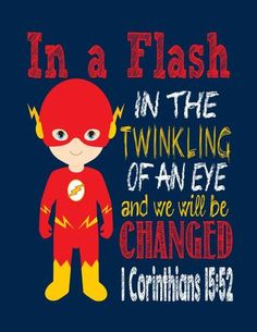 Set of 4 Superhero Wall Art - Christian Print Captain America, Flash, Wolverine, Ironman Nursery Decor - Bible Verse