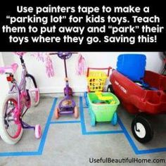 Use painters tape to create parking spaces for even the kids vehicles. Toddler T… Use painters tape to create parking spaces for even the kids vehicles. Toddler Tips and Tricks – Hacks for New and Old Moms on Frugal Coupon Living. Kids And Parenting, Parenting Hacks, Parenting Styles, Parenting Quotes, Peaceful Parenting, Parenting Plan, Natural Parenting, Parenting Classes, Gentle Parenting