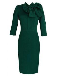 Green Bow Tie Embellished Sleeve Bodycon Dress - Bodycon Dresses - Dresses - Shop All Chic Dress With Bow, Tie Dress, Bodycon Fashion, Fashion Dresses, Green Bow Tie, Retro Dress, Elegant Dresses, Green Dress, Dress To Impress