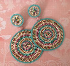 Seed Bead Earrings Colorful Disc Earrings Turquoise Sand Multicolored Post Stud Earrings – The World Seed Bead Earrings, Seed Bead Bracelets, Seed Beads, Beaded Earrings, Stud Earrings, Statement Earrings, Native Beading Patterns, Paper Quilling Jewelry, Indian Beadwork