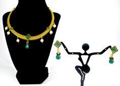 simple antique gold necklace set