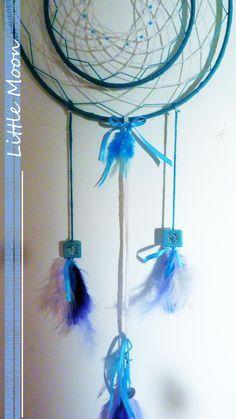 Attrape-rêve bleu - girly Blue girly dreamcatcher  * Little Moon handmade creation  https://www.facebook.com/littlemooncreation