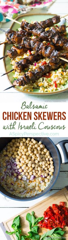 Easy Balsamic Chicken Skewers with Israeli Couscous! #dinner #farmtogrill #ad