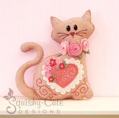Cat Stuffed Animal Pattern - Felt Plushie Sewing Pattern & Tutorial - Lacey the Valentine Cat - Embroidery Pattern PDF on Etsy, $5.00