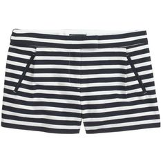 J.Crew Textured stripe short in navy ($65) ❤ liked on Polyvore featuring shorts, bottoms, short, j.crew, pleated shorts, navy blue shorts, navy shorts, short shorts and j. crew shorts