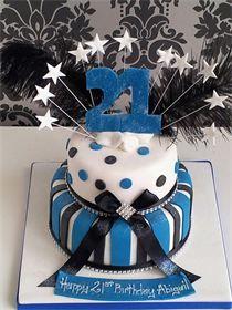 21st birthday cake : 2 tier stars and stripes design