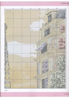 Europe city Paris France downtown, full free cross stitch pattern with DMC labeling - Page 3