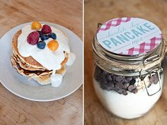 Homemade Chocolate Chip Pancake Mix in a Jar - another sweet gift idea for any time of year! via www.limnandlovely.com