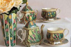 """Купить Сервиз """"Тюльпаны"""" - комбинированный, тюльпаны, тюльпан, сервиз, сервиз чайный, Чайный сервиз, фарфор"""