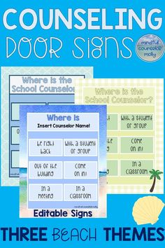 Counselor Door Signs School Counselors, decorate your office door with these beach theme door signs! School Counselor Door, School Guidance Counselor, School Counseling Office, Teacher Problems, Counseling Activities, Character Education, Close Pin, Door Signs, Office Decorations