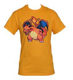 Charizard Pixel Pokemon Shirt by JellyTees on Etsy, $16.00