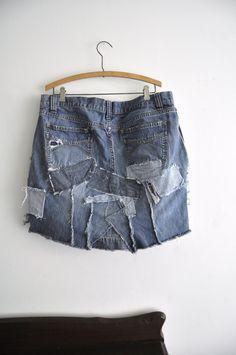 Reconstructed denim blue jean mini skirt plus by WiseSewcialTies, $59.00