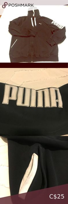 Men's Puma Zip Up Hoodie Gently used men's hoodie with zipper front and side pockets. Some discolouration of white trim due to regular use. Comes from a smoke free household Bundle 2+ items, save 10% and only pay one shipping fee 🥳 Puma Sweaters Zip Up Zip Up Sweater, Men Sweater, Ray Ban Women, Blue Zip Ups, Puma Mens, Running Shoes Nike, White Trim, Zara Women, Grey Hoodie