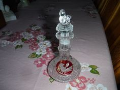 Hofbauer Byrd crystal mini decanter/perfume with bird top Etched Bird Circled in Red on each side by MilliesAttique on Etsy
