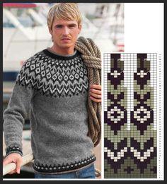 Fair Isle Knitting Patterns, Knitting Charts, Sweater Knitting Patterns, Knitting Socks, Knit Patterns, Knitting Needles, Tejido Fair Isle, Handgestrickte Pullover, Icelandic Sweaters