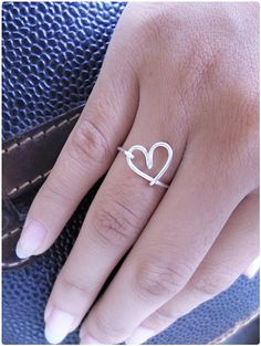 Heart Ring / Copper Gold Silver Ring / Wire Wrap Ring / by Henju, $7.95