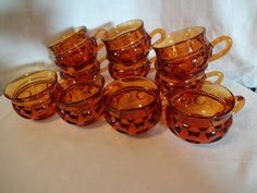 Vintage King's Crown Thumbprint Amber Punch Cups  Rich amber glass set of 10 punch cups, perfect for the fall holidays. This large enough set is perfect for your buffet serving warm spiced punch or eg