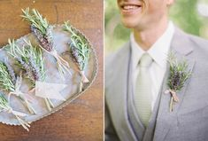 The bride's gorgeous bouquet included bright pink peonies, peach garden roses, and clematis. The groom wore a rosemary boutonniere.