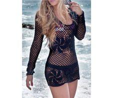 Crochet Lace vestido de praia.