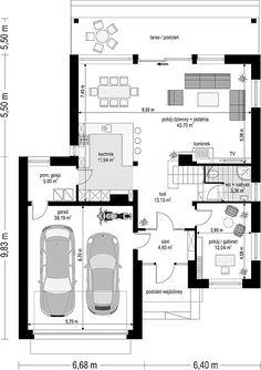 Projekt domu Otwarty 4 171,54 m2 - koszt budowy 247 tys. zł - EXTRADOM Semi Detached, House Floor Plans, Planer, My House, Architecture Design, Sweet Home, Villa, New Homes, Layout