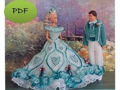 barbie crochet ball gown patterns free | Vintage Barbie Dress Crochet Pattern…