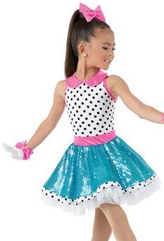 Weissman™ | Polka Dot Dress with Sequin Skirt