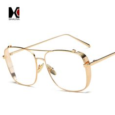 142eb0492d SHAUNA Retro 3 Colors Women Punk Plain Glasses Frame Brand Designer Fashion Men  Square Metal Frame Clear Lens Eyeglasses