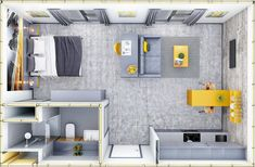 3D Plan of Yellow and Grey Studio showing layout | CRISP3D