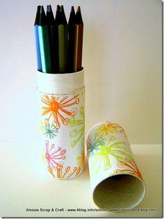 Toilet Paper Roll TP Tube Cardboard  pen, pencilholder, crochet hooks etc  recycled eco chic tutorial
