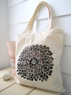 Lilac Wine Floral Tote Bag  Screen Printed Bag  by Michelebuttons, $18.00