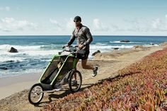 Multisport and bike trailers- Multisport and bike trailers Thule Chariot Cheetah Multisport stroller converts to bike trailer with conversion kit. Optional infant sling allows babies as young as 1 month old to ride safely & comfortably. Baby Bike, 1 Month Olds, Jogging Stroller, New Motorcycles, Old Bikes, New Tyres, Tricycle, Cheetah, Bike Trailers