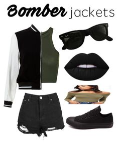 """""""Untitled #30"""" by batmanslays465 ❤ liked on Polyvore featuring Topshop, Boohoo, New Look, Converse, Ray-Ban, Lime Crime, Miss Selfridge and bomberjackets"""
