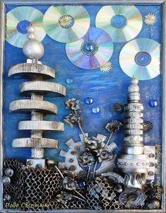 """Здравствуйте! Представляем на конкурс картину """"На далёкой планете"""" выполненой Яндринской Полинкой... Работа- это пейзаж, который могут увидеть космонавты на другой планете: здание-башня вращавшееся вокруг оси...станция на крыше...А ещё может здание , а может ракета ...гиганские цветы....Стоп!!!! Мне вдруг захотелось  не рассказывать , что я вижу на этой картине... Когда я её делала подходили учителя , ребята и было много разных версий... и мнений... Пусть для вас, кто рассматривает картину…"""