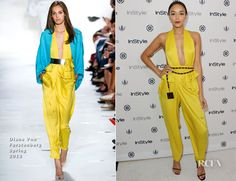 Ashley Madekwe In Diane Von Furstenberg with  vintage Chanel No. 5 belt and  Saint Laurent 'Jane' sandals