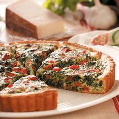 Pepperoni Spinach Quiche - Contest winning recipe from Taste of Home. Looks like spinach pie pizza