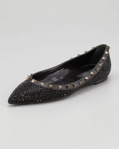 e0db71a0ec2e AUT Valentino Rockstud Crystal-covered Ballerina Flats IT 35 US 5