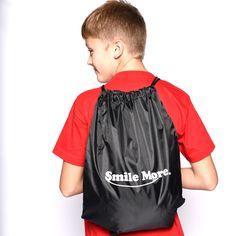 """Smile More Drawstring Sportpack 18"""" x 14"""""""