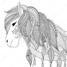 Descargar - Diseño de Zendoodle de caballo para adultos para colorear libro para anti estrés — Ilustración de stock #125943420