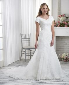 21a1be570acb Bridal Gown, Lace, V-Neck, Mermaid, Modest Bonny Bridal Wedding Dresses. Veronica  Michaels