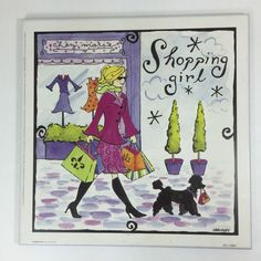 Cute #Shopping Girl #Poodle Dog Novelty Wall Plaque by #JenniferBrinley Collectible  #RinehartFineArts