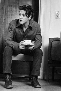 "charismatic33:  "" Al Pacino drinking tea in London, 1974  """