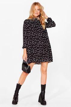 Womens Swing By Polka Dot Mini Dress - Black