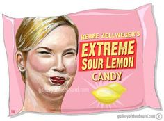ReneeZellweger's Extreme Sour Lemon- from Gallery of the Absurd.   She was really scaring me more than usual during 2013 Oscars.  I thought she had pink eye or a stroke...  Celebs please stop with the plastic surgery!!!!
